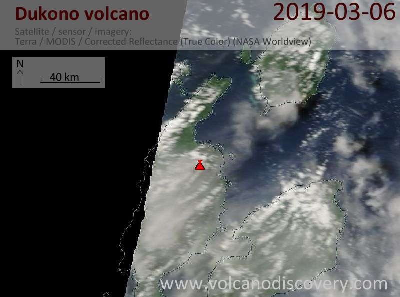 Satellite image of Dukono volcano on  6 Mar 2019