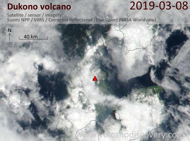 Satellite image of Dukono volcano on  8 Mar 2019