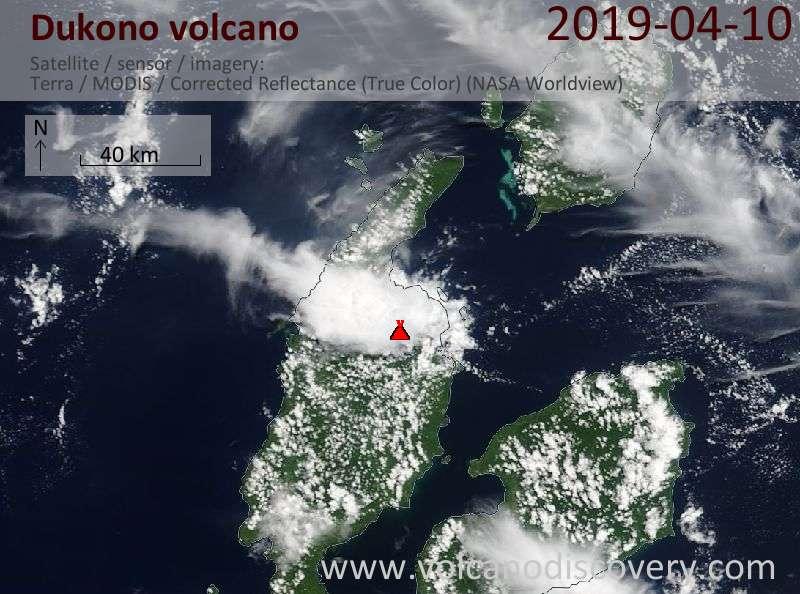 Satellite image of Dukono volcano on 10 Apr 2019