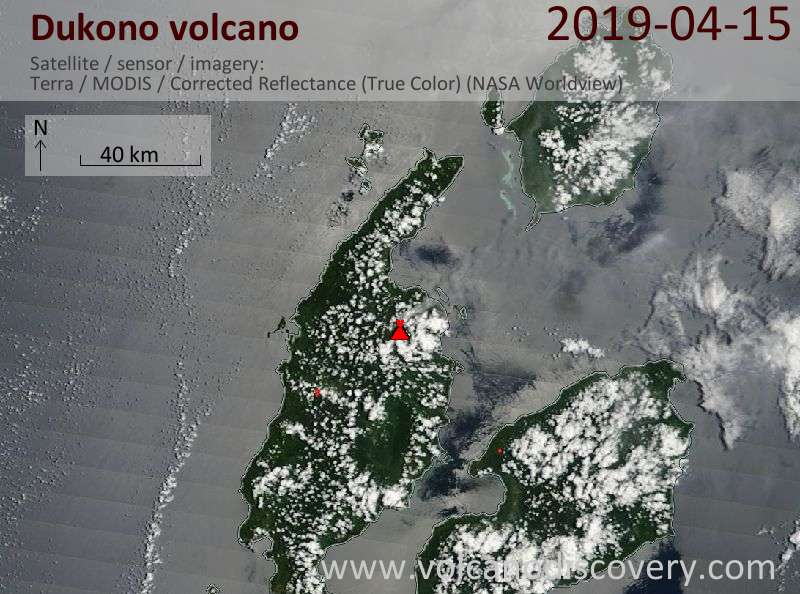 Satellite image of Dukono volcano on 15 Apr 2019