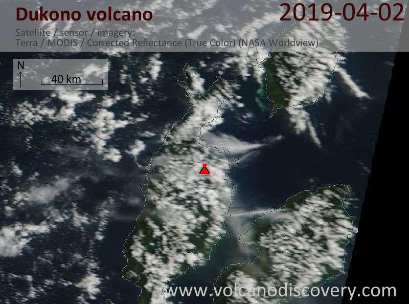 Satellite image of Dukono volcano on  2 Apr 2019