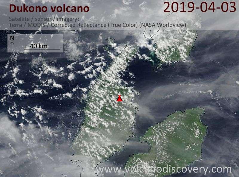 Satellite image of Dukono volcano on  3 Apr 2019