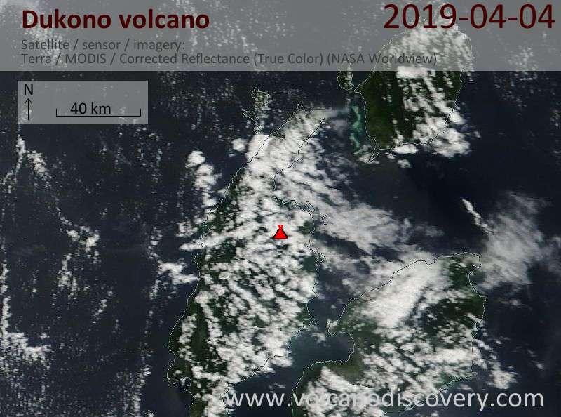Satellite image of Dukono volcano on  4 Apr 2019