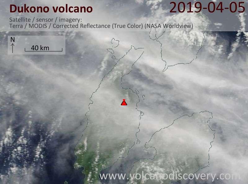 Satellite image of Dukono volcano on  5 Apr 2019