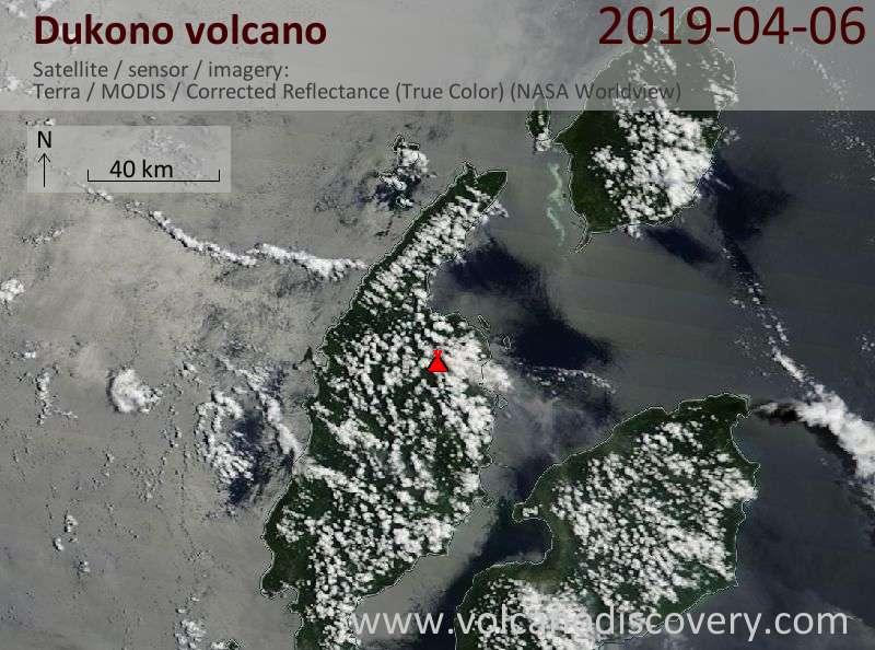 Satellite image of Dukono volcano on  6 Apr 2019