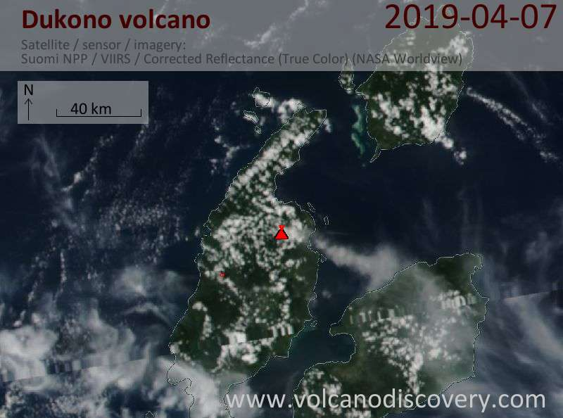 Satellite image of Dukono volcano on  7 Apr 2019
