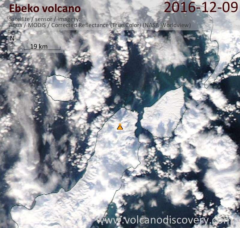 Satellite image of Ebeko volcano on  9 Dec 2016