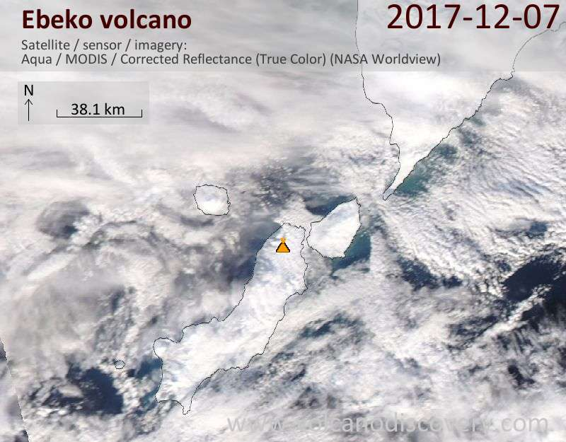 Satellite image of Ebeko volcano on  8 Dec 2017
