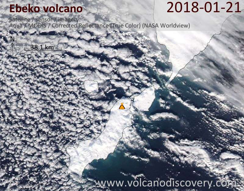 Satellite image of Ebeko volcano on 21 Jan 2018