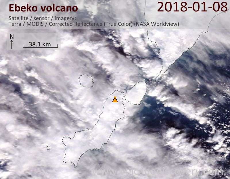 Satellite image of Ebeko volcano on  8 Jan 2018