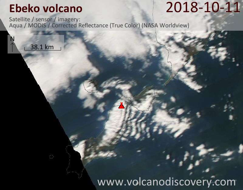 Satellite image of Ebeko volcano on 11 Oct 2018