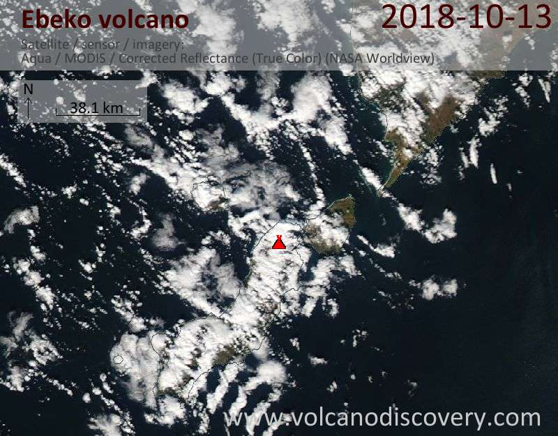 Satellite image of Ebeko volcano on 13 Oct 2018