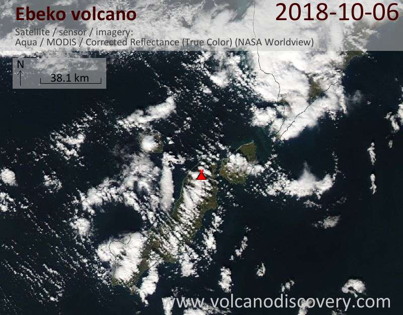 Satellite image of Ebeko volcano on  6 Oct 2018