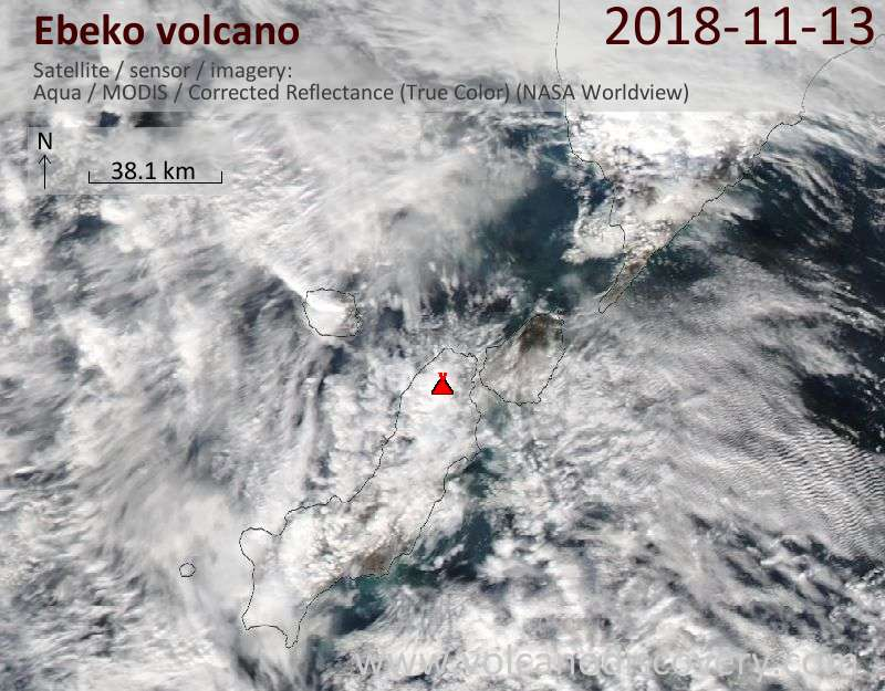 Satellite image of Ebeko volcano on 13 Nov 2018