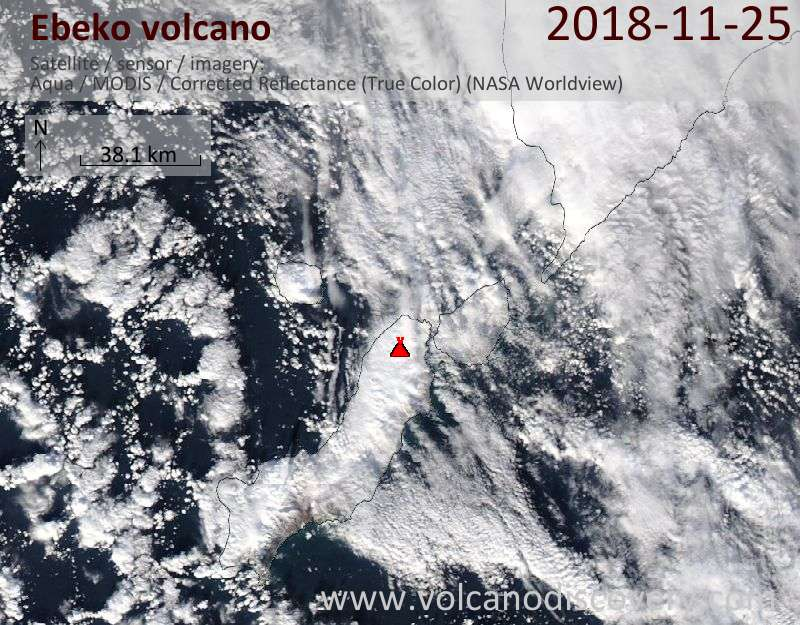 Satellite image of Ebeko volcano on 25 Nov 2018
