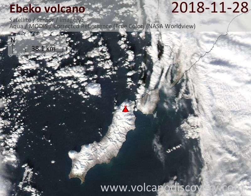 Satellite image of Ebeko volcano on 28 Nov 2018