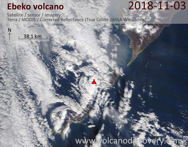 Satellite image of Ebeko volcano on  3 Nov 2018