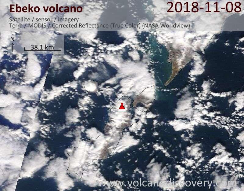 Satellite image of Ebeko volcano on  8 Nov 2018