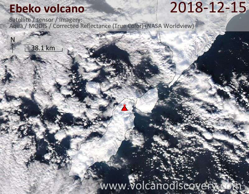 Satellite image of Ebeko volcano on 15 Dec 2018