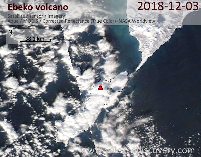 Satellite image of Ebeko volcano on  3 Dec 2018