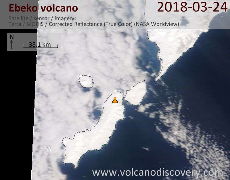 Satellite image of Ebeko volcano on 24 Mar 2018
