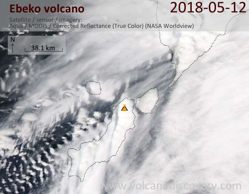 Satellite image of Ebeko volcano on 12 May 2018