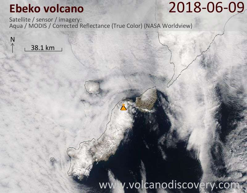 Satellite image of Ebeko volcano on 10 Jun 2018