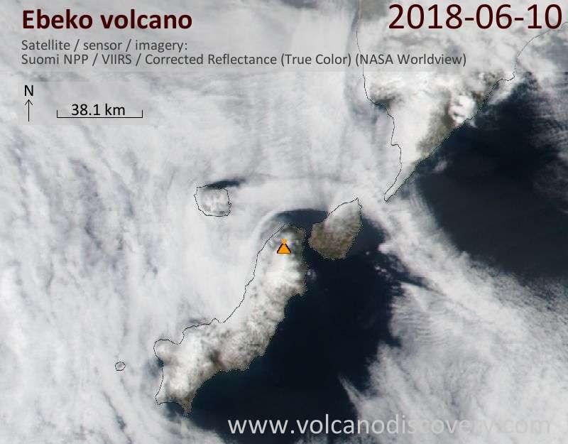 Satellite image of Ebeko volcano on 11 Jun 2018