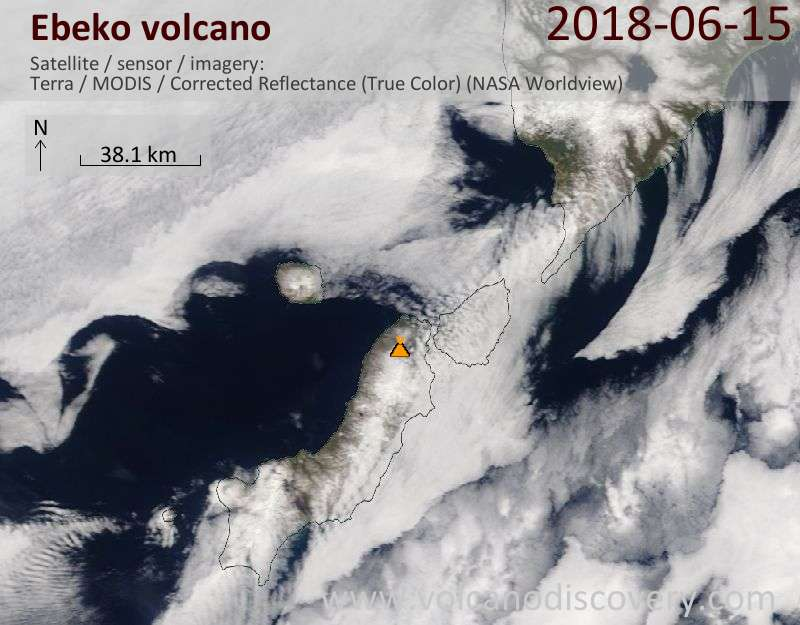 Satellite image of Ebeko volcano on 15 Jun 2018