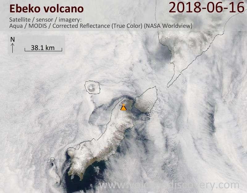 Satellite image of Ebeko volcano on 16 Jun 2018
