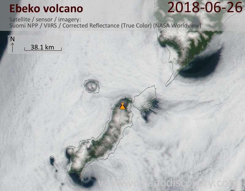 Satellite image of Ebeko volcano on 26 Jun 2018