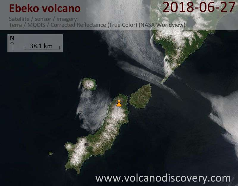 Satellite image of Ebeko volcano on 27 Jun 2018