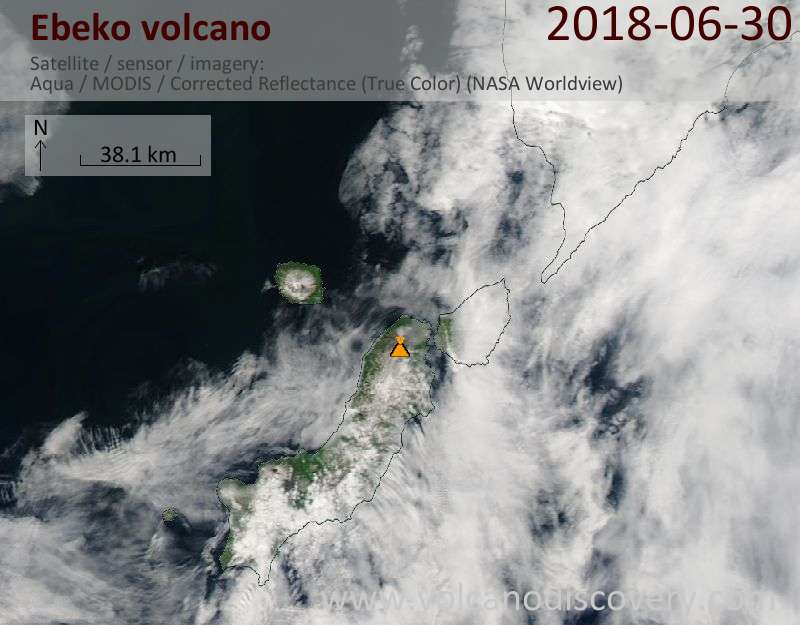 Satellite image of Ebeko volcano on 30 Jun 2018