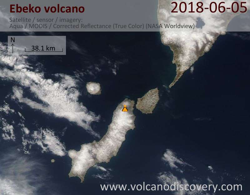 Satellite image of Ebeko volcano on  5 Jun 2018