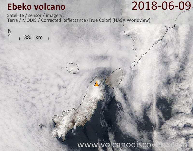Satellite image of Ebeko volcano on  9 Jun 2018