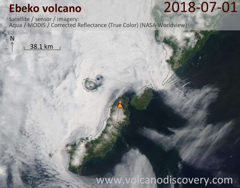 Satellite image of Ebeko volcano on  1 Jul 2018