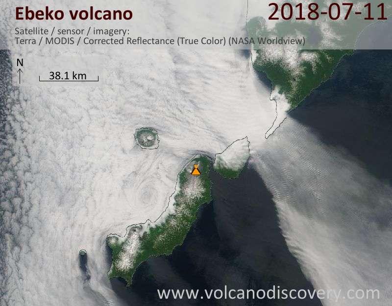 Satellite image of Ebeko volcano on 11 Jul 2018