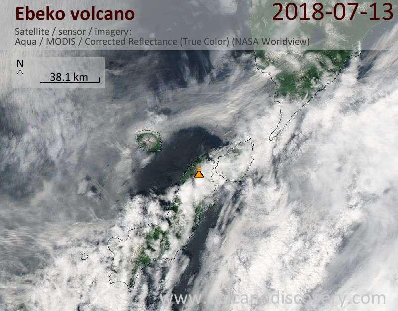 Satellite image of Ebeko volcano on 13 Jul 2018