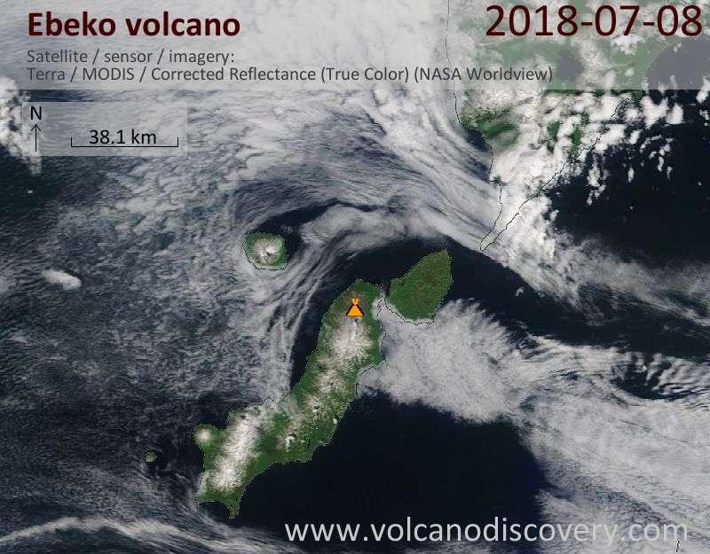 Satellite image of Ebeko volcano on  8 Jul 2018