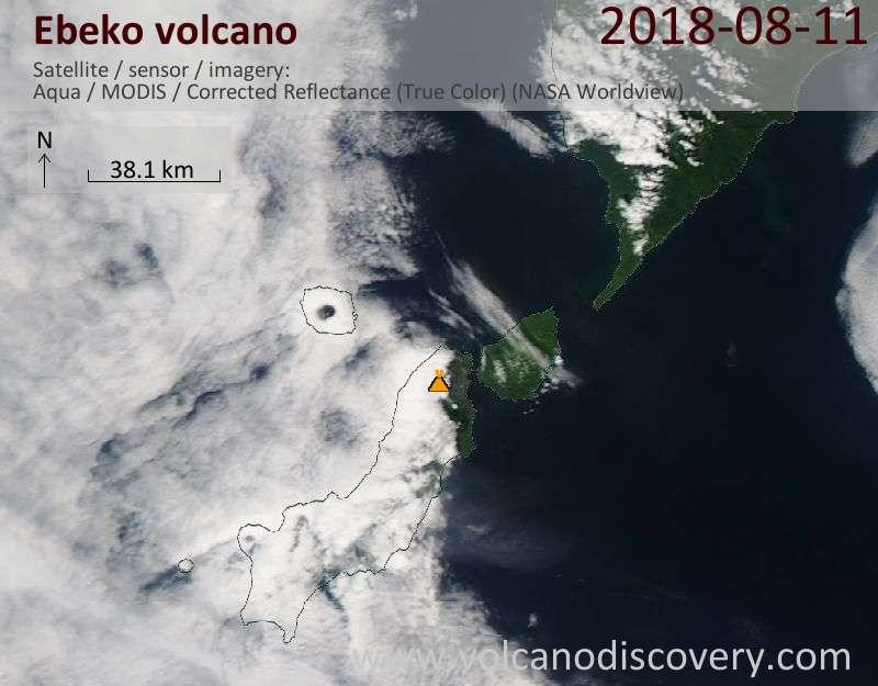 Satellite image of Ebeko volcano on 11 Aug 2018