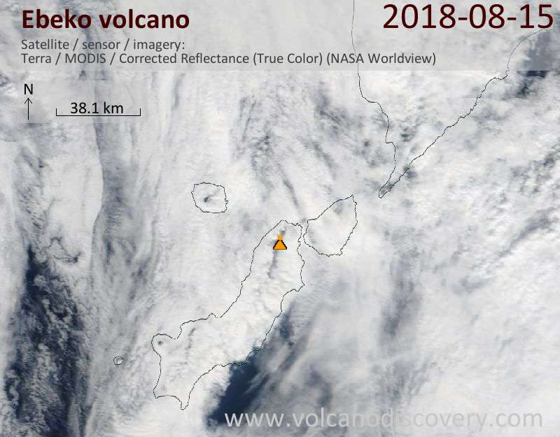 Satellite image of Ebeko volcano on 15 Aug 2018