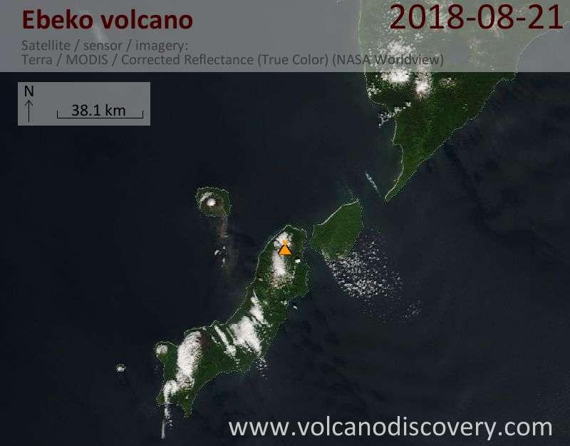 Satellite image of Ebeko volcano on 21 Aug 2018
