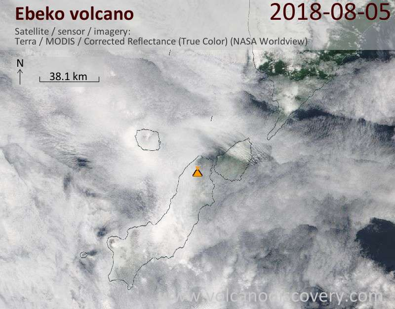 Satellite image of Ebeko volcano on  5 Aug 2018