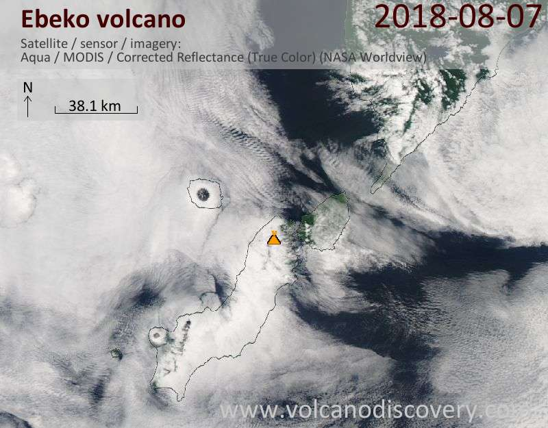 Satellite image of Ebeko volcano on  7 Aug 2018