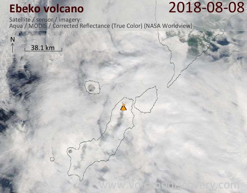 Satellite image of Ebeko volcano on  8 Aug 2018