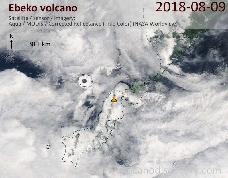 Satellite image of Ebeko volcano on  9 Aug 2018
