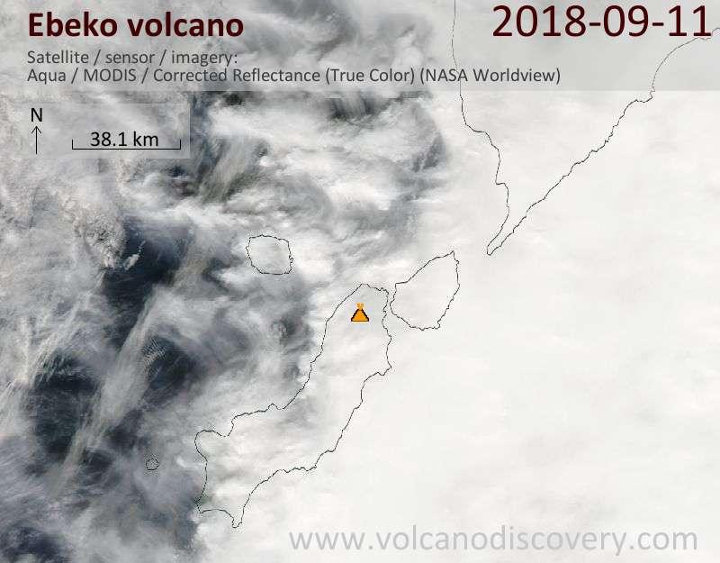 Satellite image of Ebeko volcano on 11 Sep 2018