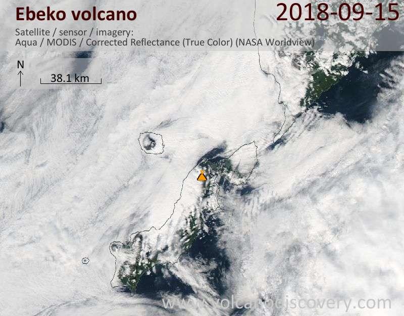 Satellite image of Ebeko volcano on 15 Sep 2018