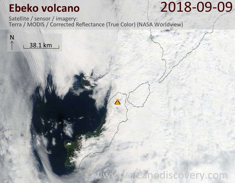 Satellite image of Ebeko volcano on  9 Sep 2018