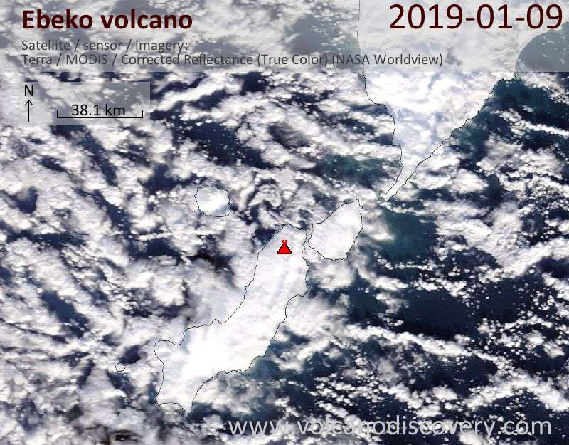 Satellite image of Ebeko volcano on  9 Jan 2019